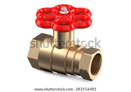 red valve isolated on white background - stock photo