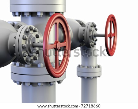 "Red Valve on oil and gas pipe system also known as a ""Christmas tree"" Wellhead. - stock photo"