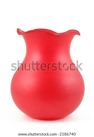 red vase isolated on white - stock photo