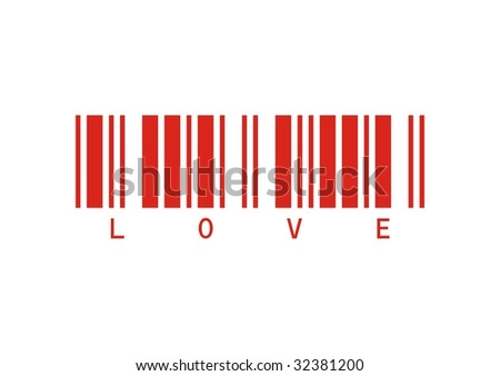 red vector draw bar code love