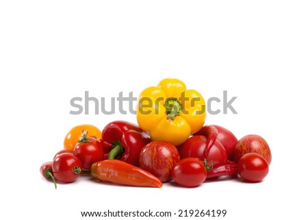 Red vegetables, separate meals. Decorative pattern of fresh vegetables on white background.
