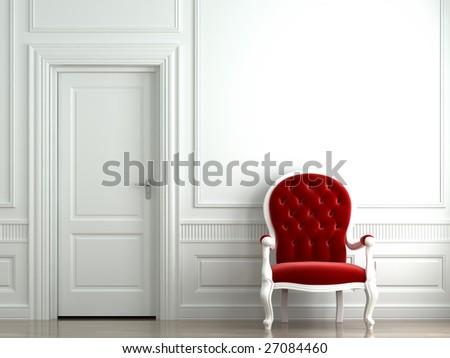 red velvet armchair on classic white wall interior - stock photo