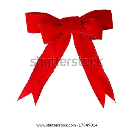 Red velvet bow and ribbon isolated on white