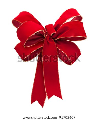 Red Velvet Bow isolated on a white background - stock photo