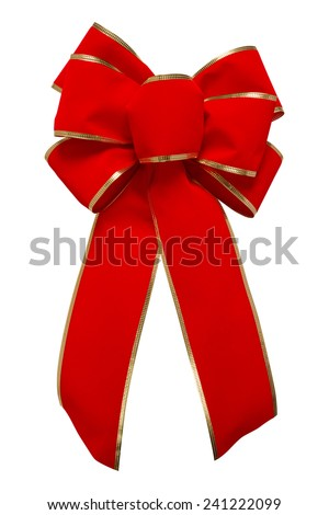 Red Velvet Bow with gold trim, isolated on white with a clipping path. - stock photo