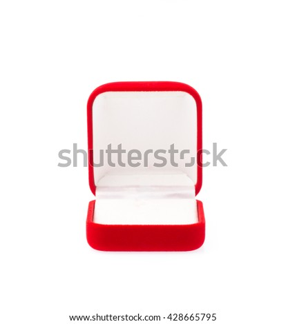 Red velvet box for the ring isolated on a white background.