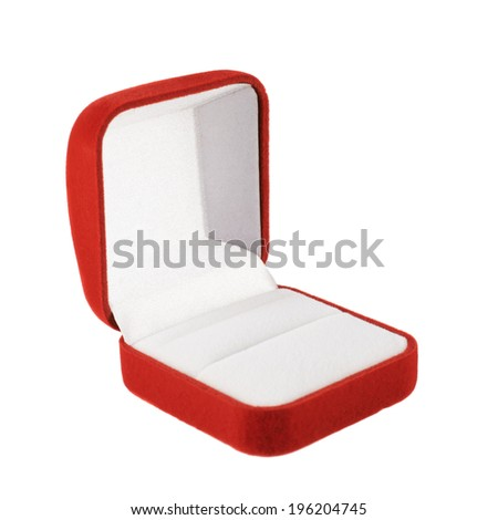 Red velvet box for the ring, opened, isolated over the white background - stock photo