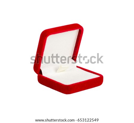 Red velvet box for the ring, opened, isolated over the white background
