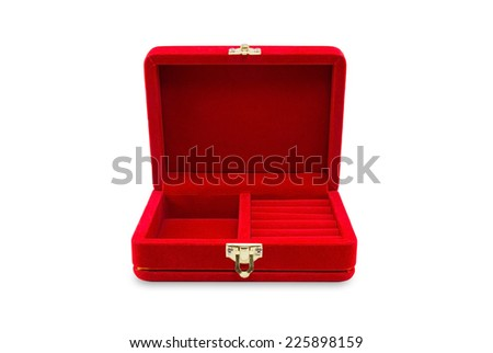 red velvet box isolated on white background, clipping path - stock photo