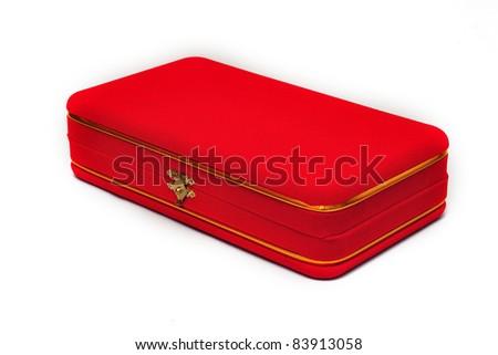 red velvet box on white background - stock photo