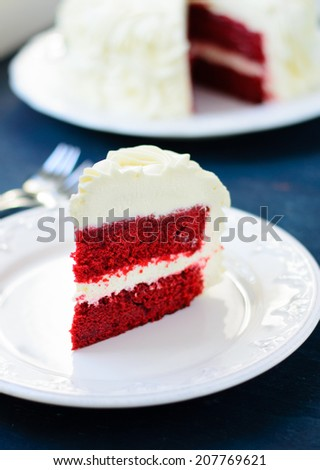Red Velvet Cake decorated with cream