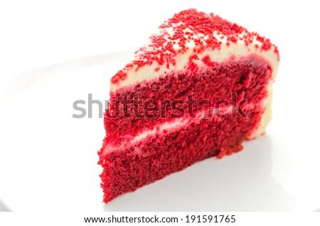 Red velvet cake isolated on white - stock photo