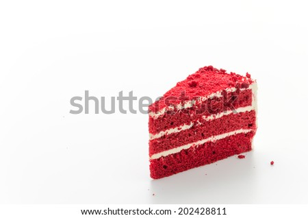Red velvet cake isolated on white background - stock photo