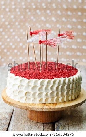 Red velvet cake on a white wood background. the toning. selective focus - stock photo