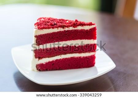 Red velvet cake on wood board - stock photo