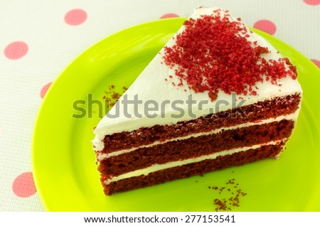 Red velvet cake /Red velvet cake on a green plate / Red velvet chocolate cake (chocolate, cake, velvet) - stock photo