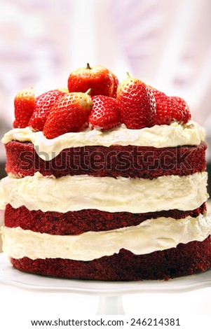 Red velvet cake with strawberries  - stock photo