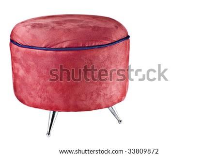 Red velvet chair isolated on white background - stock photo
