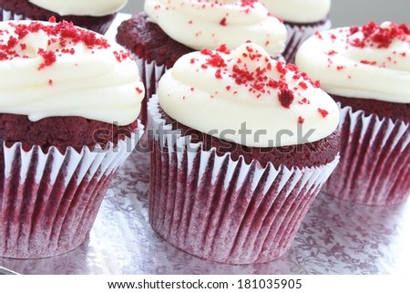 red velvet cup cakes on stand - stock photo