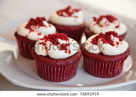 Red velvet cupcakes - stock photo