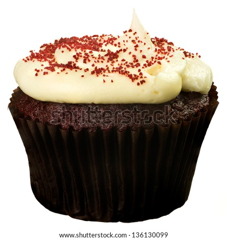 Red Velvet Cupckae with Red Sprinkles Isolated - stock photo