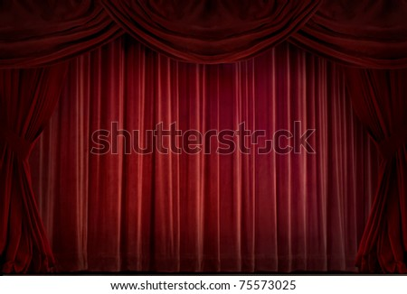 Red velvet curtain in a retro style - stock photo