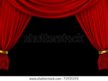 Red velvet curtain open on theater stage