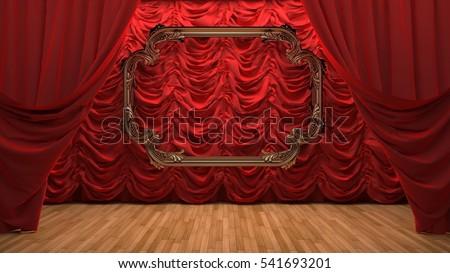 red velvet curtain opening the scene - Velvet Curtain