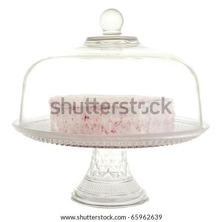 red velvet dessert in a glass cake tray - stock photo