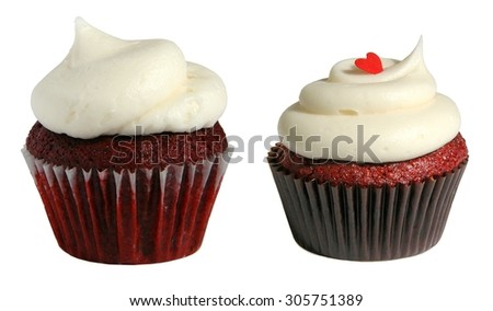Red velvet miniature cupcakes - stock photo