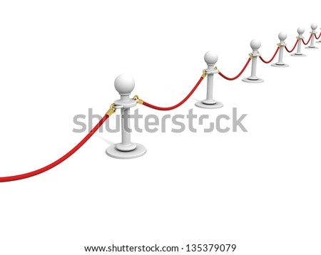red velvet rope and white stands VIP barrier - stock photo