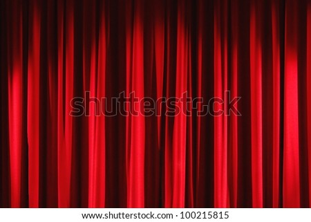 Red velvet stage curtains. - stock photo