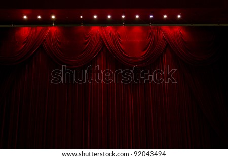 red velvet stage theater curtains - stock photo