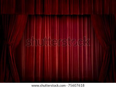 Red velvet theater curtain - stock photo