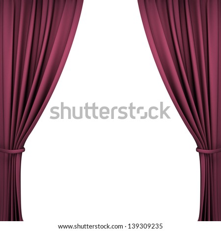Red Velvet Theater Curtains on White Background - stock photo