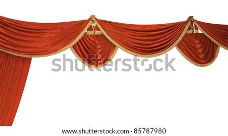 Red Velvet Theater curtains over white background - stock photo