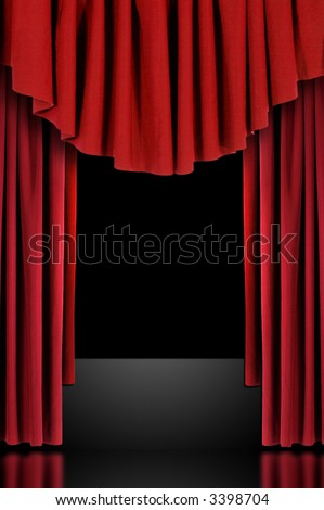 Red Vertical Draped Theatre Curtains on Black - stock photo