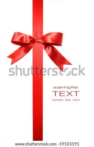 Red vertical gift bow isolated on white background - stock photo