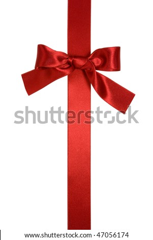 red vertical ribbon with bow isolated on white - stock photo