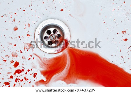 Red vibrant blood flowing to sink hole. Murder concept background - stock photo