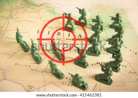 Red viewfinder over rebels on Libya territory - stock photo