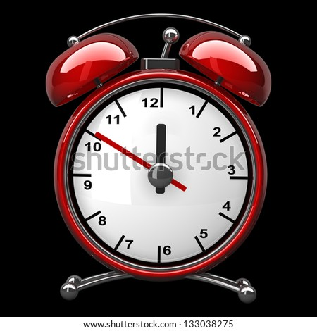 Red vintage alarm clock isolated on black background High resolution 3d render - stock photo