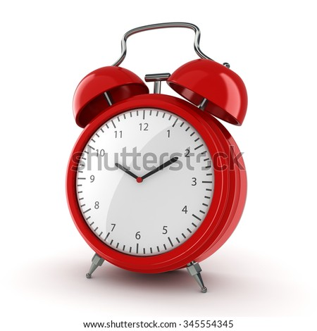 Red vintage alarm clock on a white background