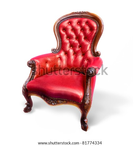 Red Vintage Armchair/isolated