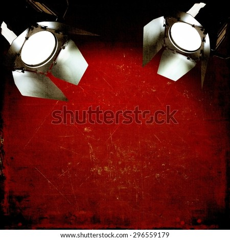 Red vintage background with reflectors - stock photo