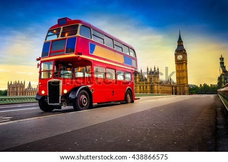 Red Vintage Bus and Big Ben in London,UK. - stock photo