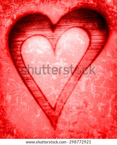 red vintage heart silhouette - stock photo