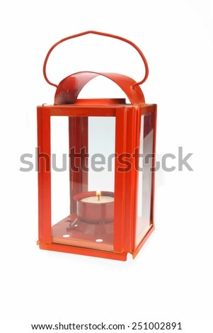 Red Vintage Lantern With Glowing Candlestick Isolated on White Background - stock photo
