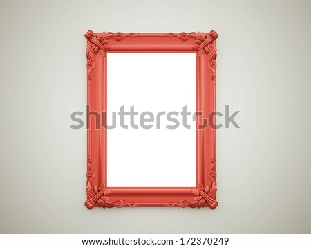 Red vintage mirror frame on dark wall - stock photo