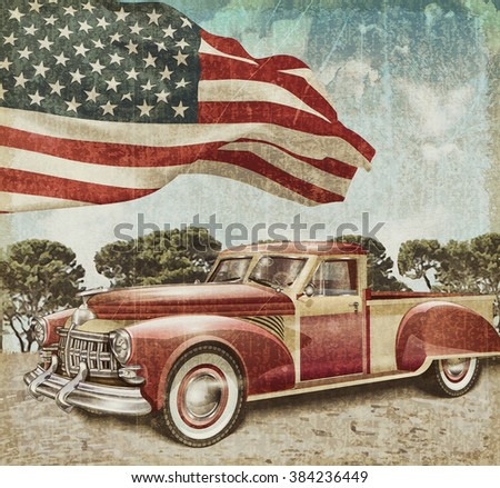 Red vintage pick up truck with American flag. - stock photo